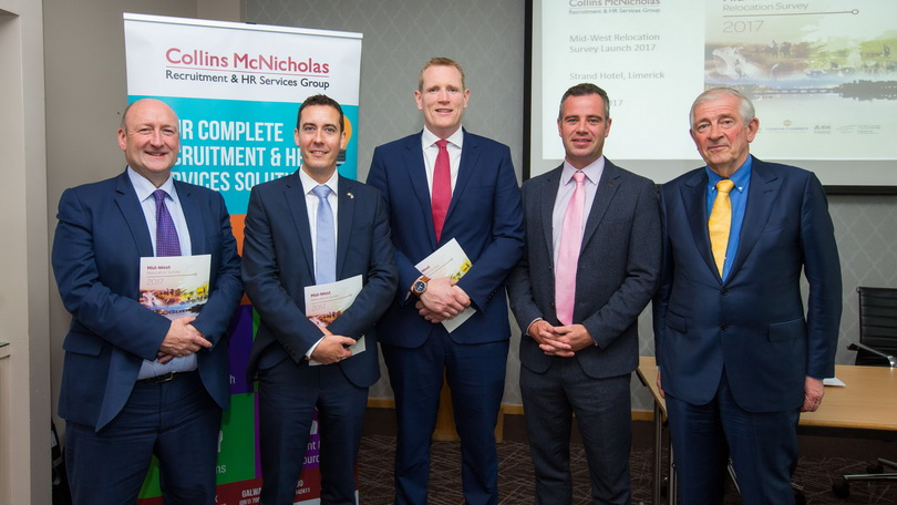 Pat Daly, Limerick City and County Council, Niall O Callaghan, IDA Ireland, David Fitzgibbon, Regional Manager, Collins McNicholas, Dr. James Ring, CEO, Limerick Chamber and Padraic White, Executive Chairman, Collins McNicholas at the launch of the Mid-West Relocation Survey at the Limerick Strand Hotel, Limerick. Photo: Oisin McHugh True Media