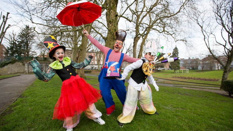 Lucy Grace Griffin Grant, Edward Fossett, aka OTTO the clown of Fossett's Circus and Yasser Mansoer from Lumen Street Theatre at the launch of Limerick's St Patrick's Festival at the Peoples Park Limerick. Photo: Sean Curtin True Media
