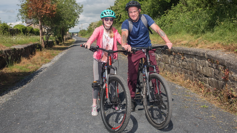Neave and Kevin Tugeell, Knocknagoshel, were pictured at a Family Cycle event on the Great Southern Greenway Limerick. Photo: Marie Keating