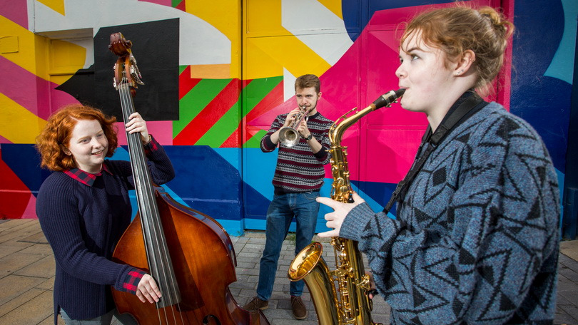 Pictured launching the Limerick Jazz Festival were, Sarah Lordan, Cathal O Donabhain and Roisin O Donabhain. Picture: Alan Place