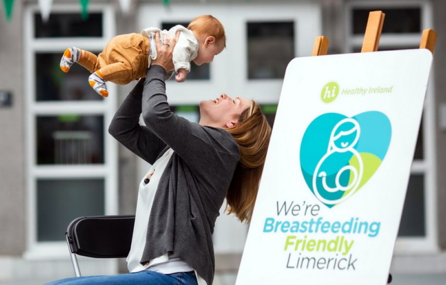 Pictured at the launch of 'We're Breastfeeding Friendly' were, Karen O'Donnell and 12 week old Ryan O'Donnell. Picture: Alan Place