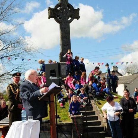 President Michael D Higgins at the Stone Cross