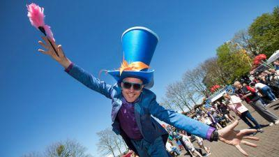 Artastic street theatre entertain the crowds at Riverfest Village, Arthurs Quay Park, Limerick. Picture Sean Curtin True Media.