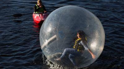 Zorbing at the 2018 Riverfestival Village, Arthurs Quay Park, Limerick. Photo: Sean Curtin True Media