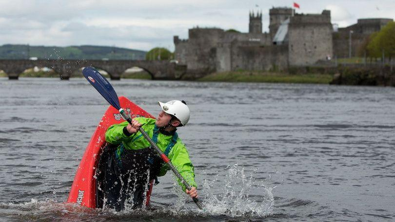 Ruadhan Currans Hayes competing in the war on the weir completion as part of the Limerick Riverfest. Photo: Picture Sean Curtin True Media