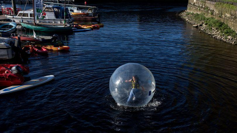Zorbing at Riverfest Village, Arthurs Quay Park, Limerick. Picture Sean Curtin True Media.