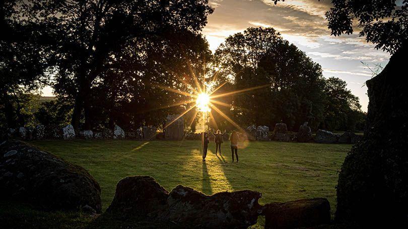 2020 Summer Solstice sun rises at 5.15AM at the ancient Stone Circle at Lough Gur, Co Limerick. Photographer: Keith Wiseman