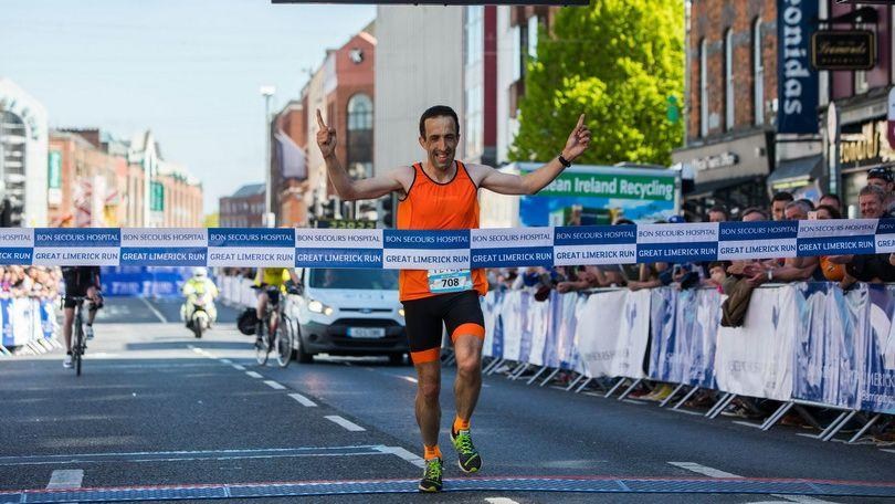 Kildare man Peter Mooney wins the overall marathon in the 2018 Great Limerick Run. Photo: Sean Curtin True Media