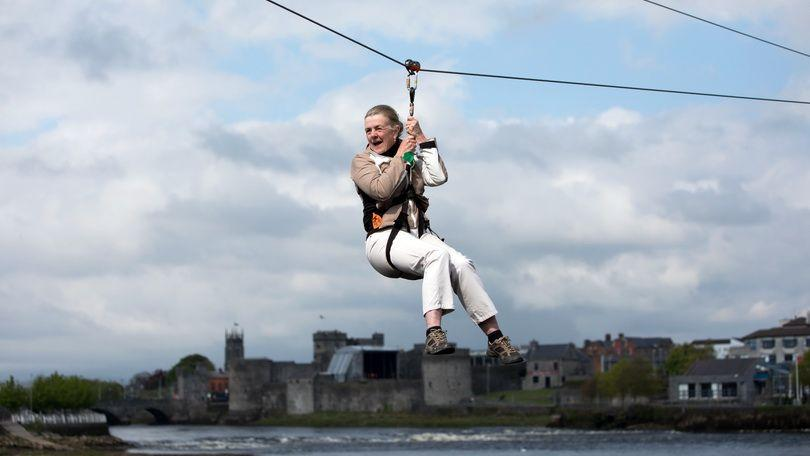 Mary Linane, Cratloe on the zip line at the 2018 Riverfestival Village at Arthurs Quay Park, Limerick. Photo: Sean Curtin True Media