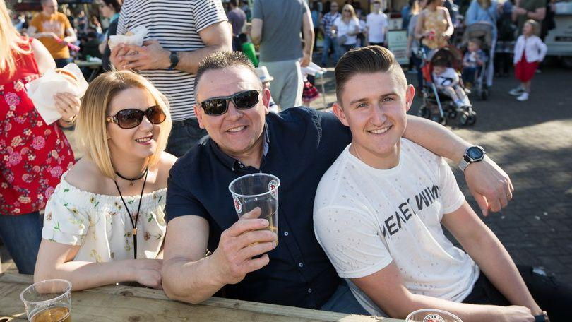 Aisling O'Callaghan, Mark Reddan and Greg Reddan at the 2018 Riverfestival Village, Limerick. Photo:  Sean Curtin True Media.