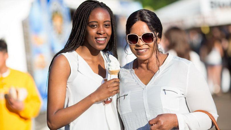 Teresa and Sylvia Mbekwa, South Africa living in Meelick at the 2018 Riverfestival Village, Arthurs Quay Park. Photo:  Sean Curtin True Media