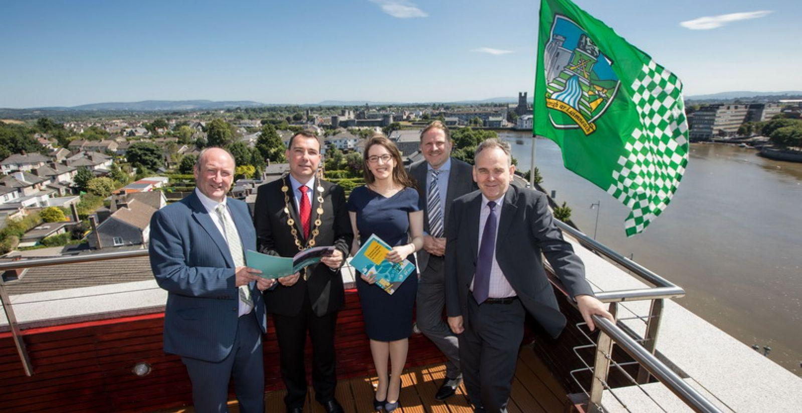 Dr. Pat Daly, Director of Economic Development and Planning for Limerick City & County Council, Mayor of the City and County of Limerick, Cllr James Collins, Ciara Morley, Senior Consultant with EY-DKM, Neil Gibson, Chief Economist, EY Ireland and Michel Lemagnen, Director MCJ Lemagnen Associates Ltd reviews the report prior to its launch in the Limerick Strand Hotel.   Picture: Sean Curtin True Media