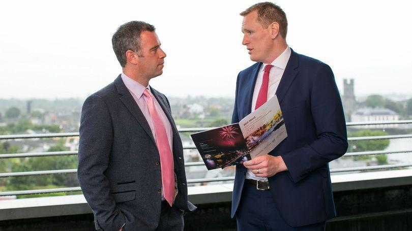 Dr. James Ring, CEO, Limerick Chamber and David Fitzgibbon, Regional Manager, Collins McNicholas at the launch of the Mid-West Relocation Survey at the Limerick Strand Hotel, Limerick. Photo: Oisin McHugh True Media