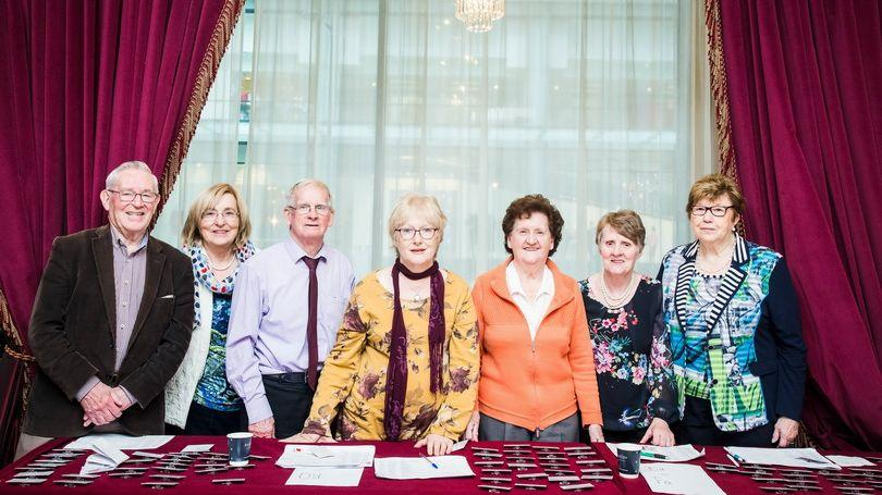 Oliver Creighton, Josephine Halpin, Paddy Hyland, Una Breen, Liz Hanrahan, Peg Grimes and Margret Quinn of Limerick Older People's Council welcoming delegates to the National Convention of Older People's Councils in the Savoy Hotel (Pic: Brian Arthur)