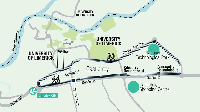 Map Walking Route Castletroy Slí na Sláinte Walking Route | Limerick.ie Map Walking Route
