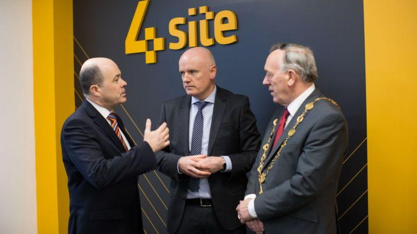 Minister Denis Naughten for Communications, Climate Action and Environment, Ian Duggan, CEO of 4site and Mayor of the City and County of Limerick, Cllr Stephen Keary.