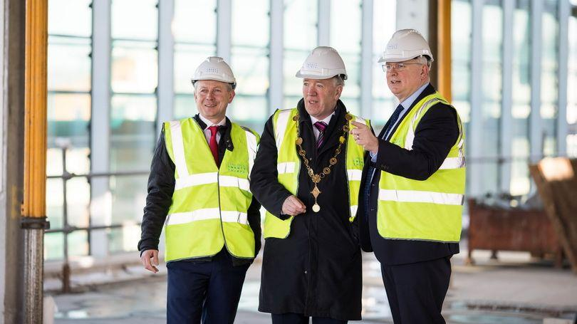 Pictured at the Gardens International Limerick site are David Conway, CEO, Limerick 2030, Mayor Stephen Keary and John Buckley, Director, Head of Cushman & Wakefield Limerick. Pic: Sean Curtin / True Media.