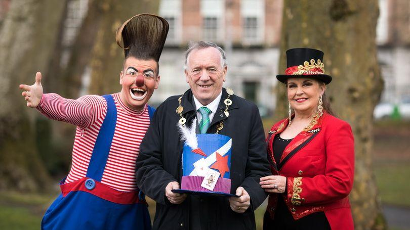 Edward Fossett, aka OTTO the clown, the Mayor of Limerick City and County, Cllr Stephen Keary and Marion Fossett at the launch of Limerick St. Patrick's Festival 2018. Photo: Sean Curtin / True Media