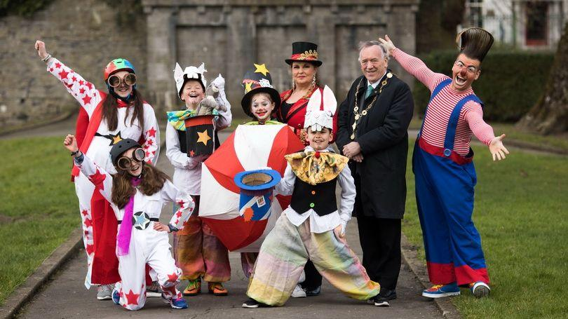 Suzanne Freeman, Katie Collins, Luca Rosendahl Morrissey, Lucy Grace Griffin Grant, Marion Fossett, Yasser Mansoer, The Mayor of Limerick City and County, Cllr Stephen Keary and Edward Fossett, aka OTTO the clown of Fossett's Circus at the launch of Limerick's St Patrick's Festival 2018. Photo: Sean Curtin True Media