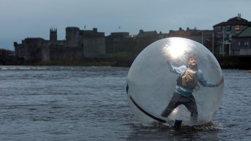 Carlos Orcher from Limerick's Nevsail testing out the Zorb ball