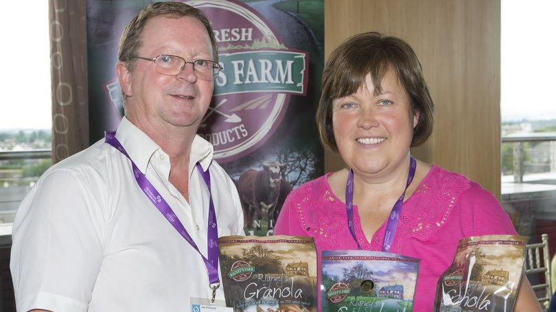 Attending the Local Producer Showcase and Networking Event in the Strand hotel were Joe O'Connor, Truely Irish, Newcastlewest and Caroline Rigney, Rigney's Farm Curraghchase.  Photograph Liam Burke Press 22