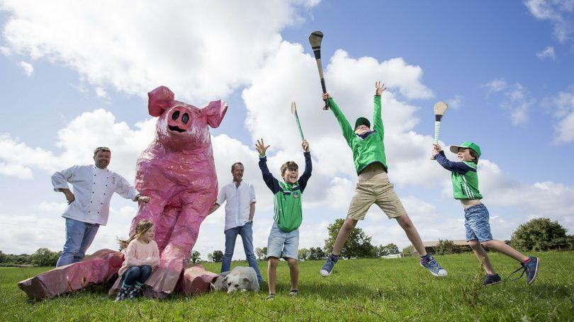 This little piggy goes to the market! Chefs, Tom Flavin, The Strand Hotel and Wade Murphy, 1826 Adare, Edon O'Brien, Liam Kennedy, George and William Roberts with the Pigtown Series mascot during the launch at Rigney's Farm, Limerick. Picture: Alan Place