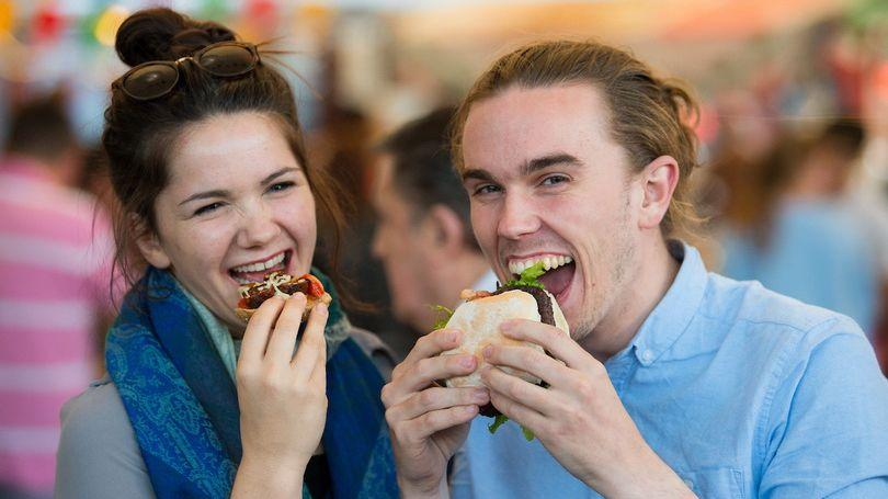 Pictured enjoying Pigtown Limerick Urban Food Fest were Ventura Jones from Pery Square, and Oisin McHugh from Raheen, Limerick. Picture: Diarmuid Greene/Alan Place Photography