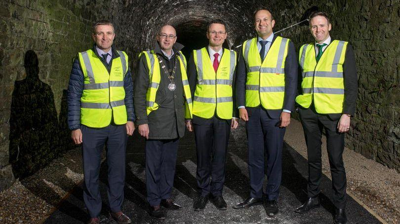 Taoiseach visits Barna Tunnel - Great Southern Greenway Limerick Project. Pic Marie Keating 810x456