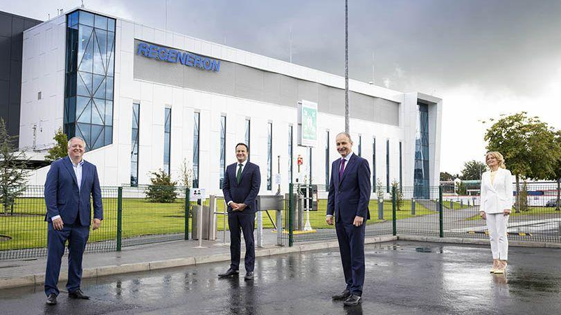 Pictured at the announcement of 400 new jobs at the Regeneron in Raheen, Limerick, were; Niall O'Leary, Vice President and Site Head, Regeneron; Tanaiste Leo Varadkar TD; An Taoiseach Micheal Martin TD; and Mary Buckley, Executive Director IDA.  Photo: Cathal Noonan