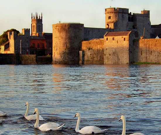 King John's Castle with swans