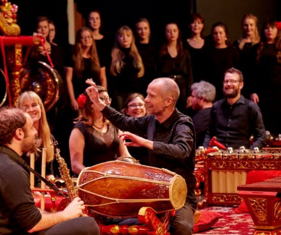 Professor Mel Mercier, Chair of Performing Arts at the Irish World Academy, with the Irish Gamelan Orchestra