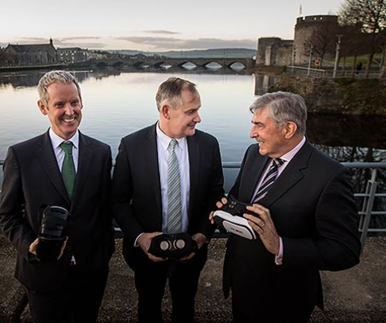 Looking into the future - Andrew McDowell, Vice President of the European Investment Bank, Conn Murray, Chief Executive of Limerick City and County Council and Limerick Twenty Thirty Chairman Denis Brosnan. Photo: Sean Curtin True Media