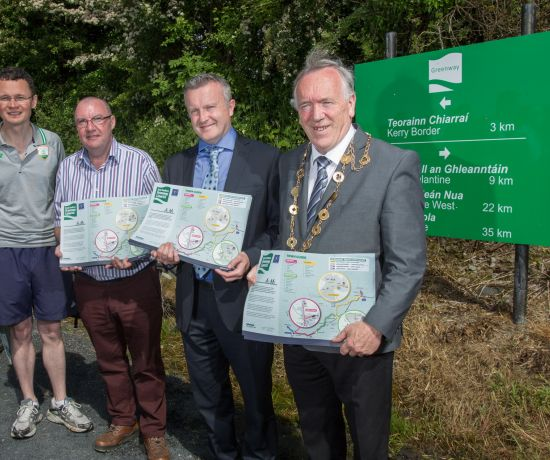 Minister Patrick O'Donovan, Councillor Francis Foley, Brian Kennedy, Limerick City and County Council, and Mayor Stephen Keary pictured at the Great Southern Greenway Limerick. Photo: Marie Keating