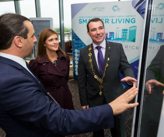 Pictured are Head of Digital Strategy at Limerick City and County Council, Dr. Mihai Bilauca, Limerick.ie Co-ordinator, Orla O'Connor and Mayor of Limerick, James Collins at the launch of the new Digital Strategy for Limerick.  Photo: Oisin McHugh True Media