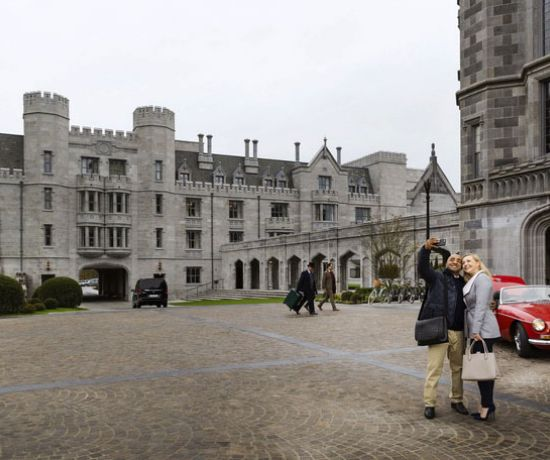 Arriving & taking photos outside Adare Manor Limerick