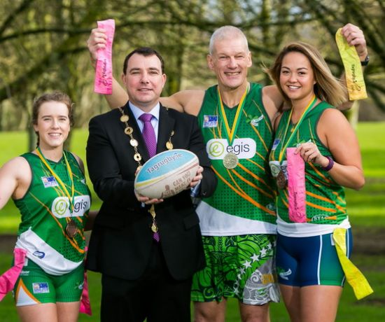 Ellen O Sullivan, Women's Irish Tag Rugby Team, Mayor of the City and County of Limerick, Cllr. James Collins, Lesley Walsh, Women's Irish Tag Rugby Team and Paul Clinch, Mens Over 50s Irish Tag Rugby Team at the University of Limerick to launch the Tag Rugby World Cup 2021.  Photo: Oisin McHugh True Media