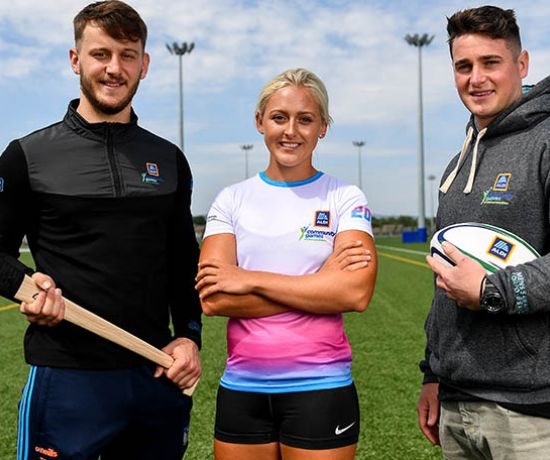 In attendance during the Aldi Community Games Festival Launch are from left, Tom Morrissey of Limerick, hurdler Sarah Lavin, and former Munster rugby player Ronan O'Mahony at Maguires Field, University of Limerick in Limerick. Photo by Sam Barnes/Sportsfile