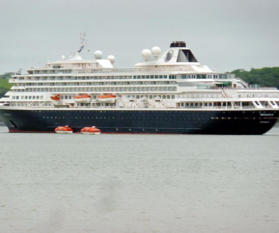 Cruise ship docks in Foynes