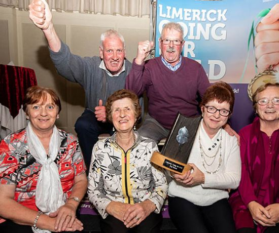 Pictured are members of the Ardpatrick Tidy Towns Committeee celebrating their win, front row left to right, Eileen O'Sullivan, Peggy Lee, Ann McGrath and Catherine Herbert, back row left to right, David Best and Pat Casey. Photo by Alan Place
