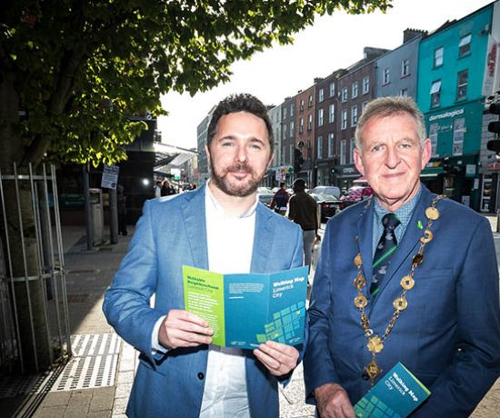 The Limerick Walking Map is map is an initiative of Rian Mac Giobúin, North Circular Road, pictured with Mayor of Limerick city and county, Cllr Michael Sheahan. Photo: Keith Wiseman