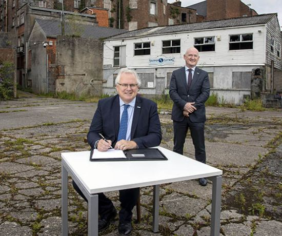 Timely boost with works at Opera Site set to commence next month and project managers announced. Pictured are David Conway, CEO Limerick 2030 and Kevin James, MD Cogent Associates.Pic Arthur Ellis.