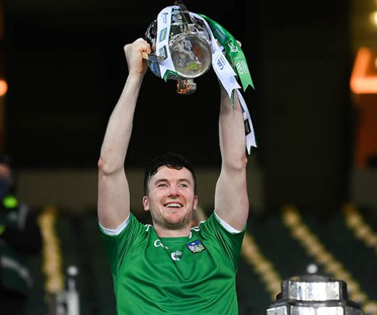 13 December 2020; Limerick captain Declan Hannon lifts the Liam MacCarthy Cup following the GAA Hurling All-Ireland Senior Championship Final match between Limerick and Waterford at Croke Park in Dublin. Photo by Stephen McCarthy/Sportsfile